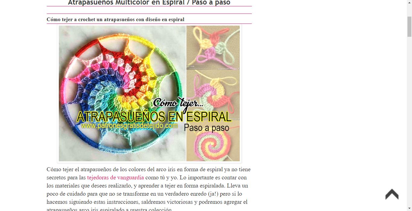 Atrapasueños Multicolor en Espiral / Paso a paso | Crochet y Dos ...