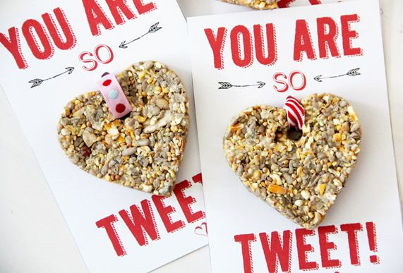 "We made toddler- and bird-friendly birdseed heart Valentines for handing out to all your child's ""tweet"" friends. Easy and fun!"