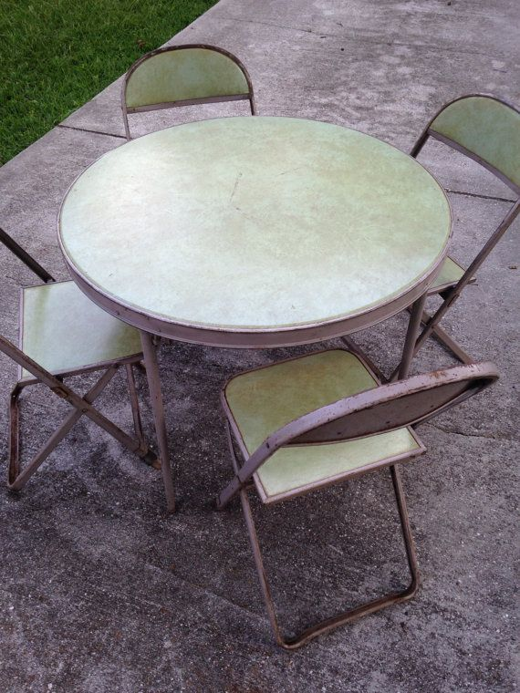 Vintage Card Table Chairs Card Table And Chairs Round Table