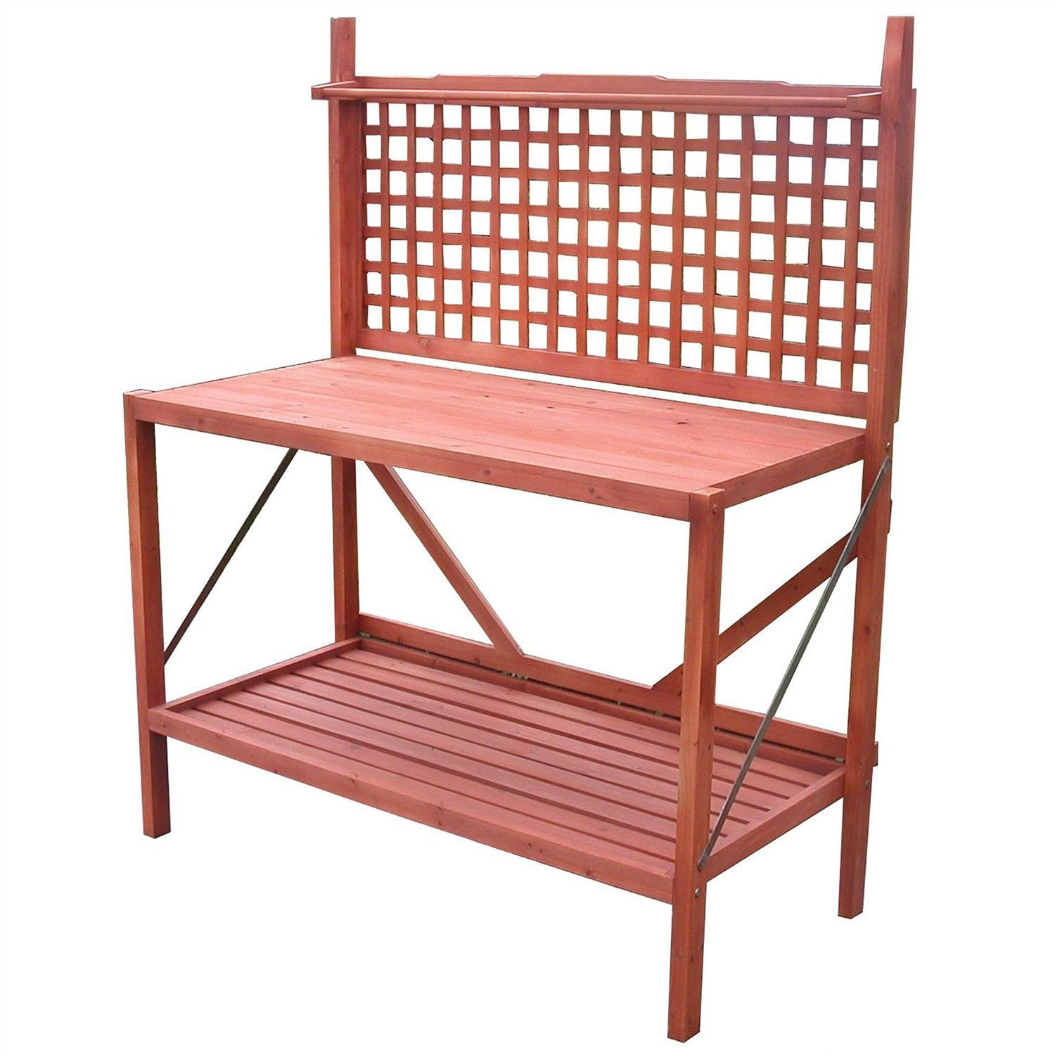 Outdoor Folding Wooden Potting Bench Garden Trellis with Storage