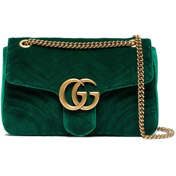 cd9be5b4024e Gucci green Marmont velvet shoulder bag ($1,980) ❤ liked on Polyvore  featuring bags, handbags, shoulder bags, green, gucci, green shoulder bag, gucci  purse ...