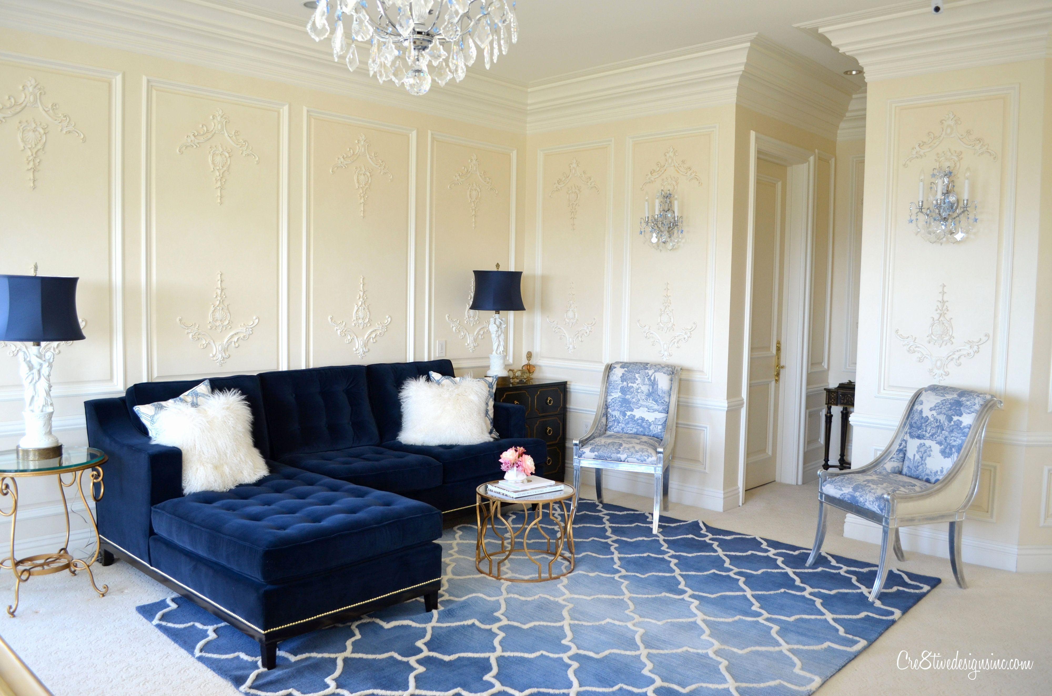Coastal Living Room Navy Blue Sofa Paint Color Ideas