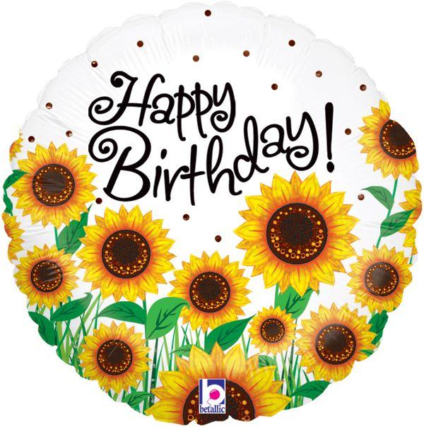 sunflower balloon | Happy birthday foil balloons ...