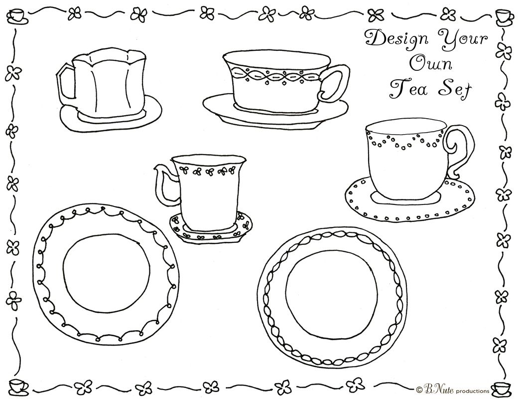 Design your own tea set coloring sheet for a tea party .... from ...