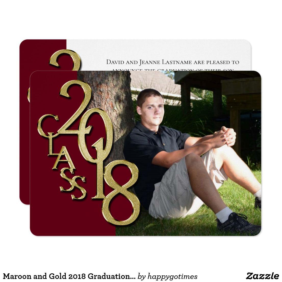 Maroon and Gold 2018 Graduation Invitation