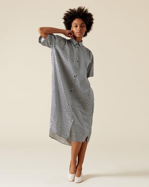 3c88d19ddac33 6397 Oversized Shirt Dress in Black and White Printed Silk