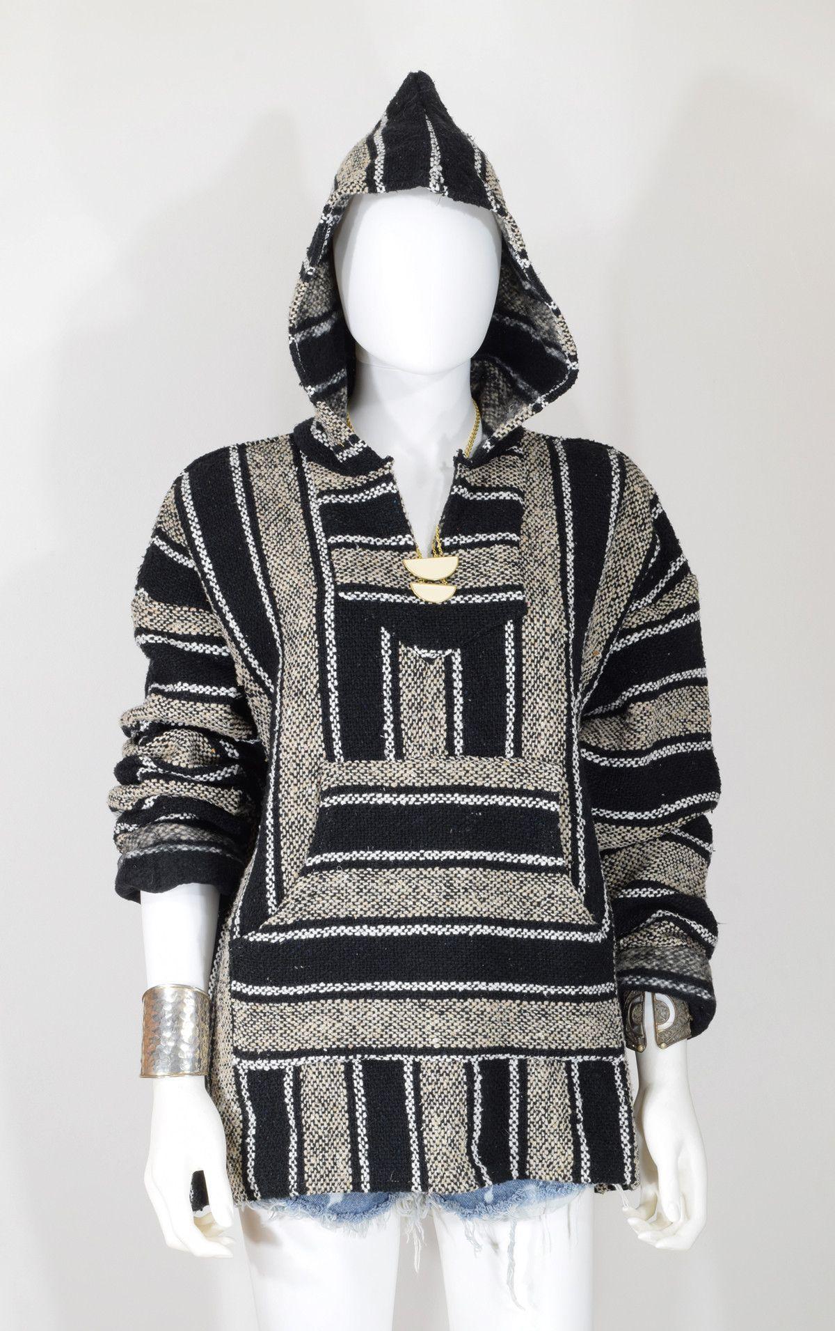 a53e8bb14 Baja Surf Poncho Vintage 90s Mexican hoodie Sweater Unisex Size M/L ...