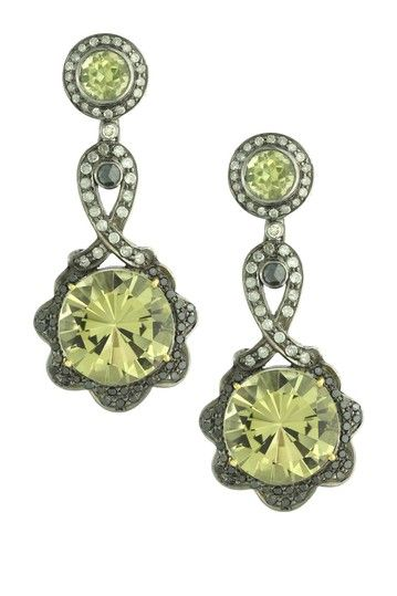 Pave Diamond & Lemon Quartz Dangle Earrings - 1.70 ctw on HauteLook