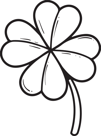 Four leaf clover St. Patrick's Day coloring page for kids. It's free and  printable