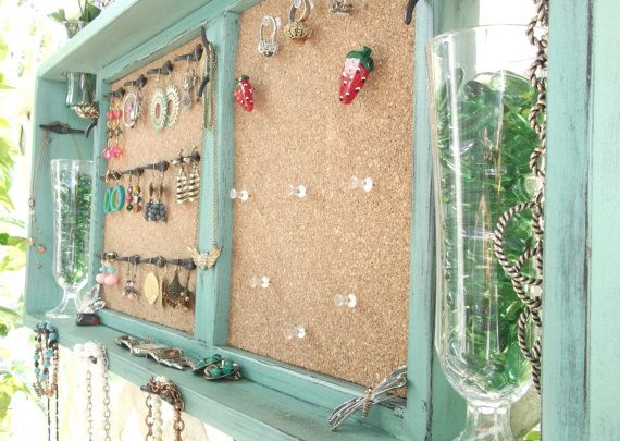 Jewelry Organizer Wall Display Vase Shelf Message by datedbydesign