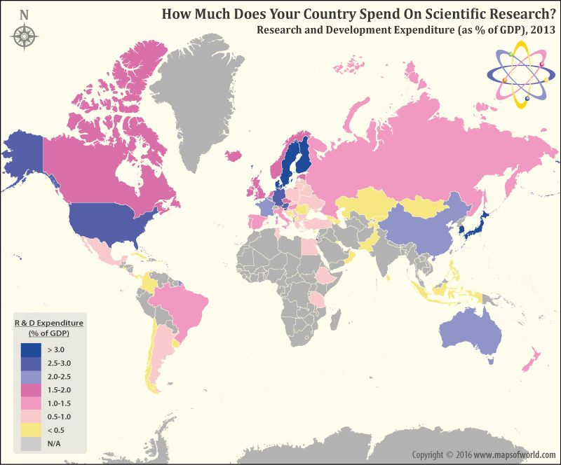 Which countries spend the most of their GDP on Research and - best of world map showing population growth
