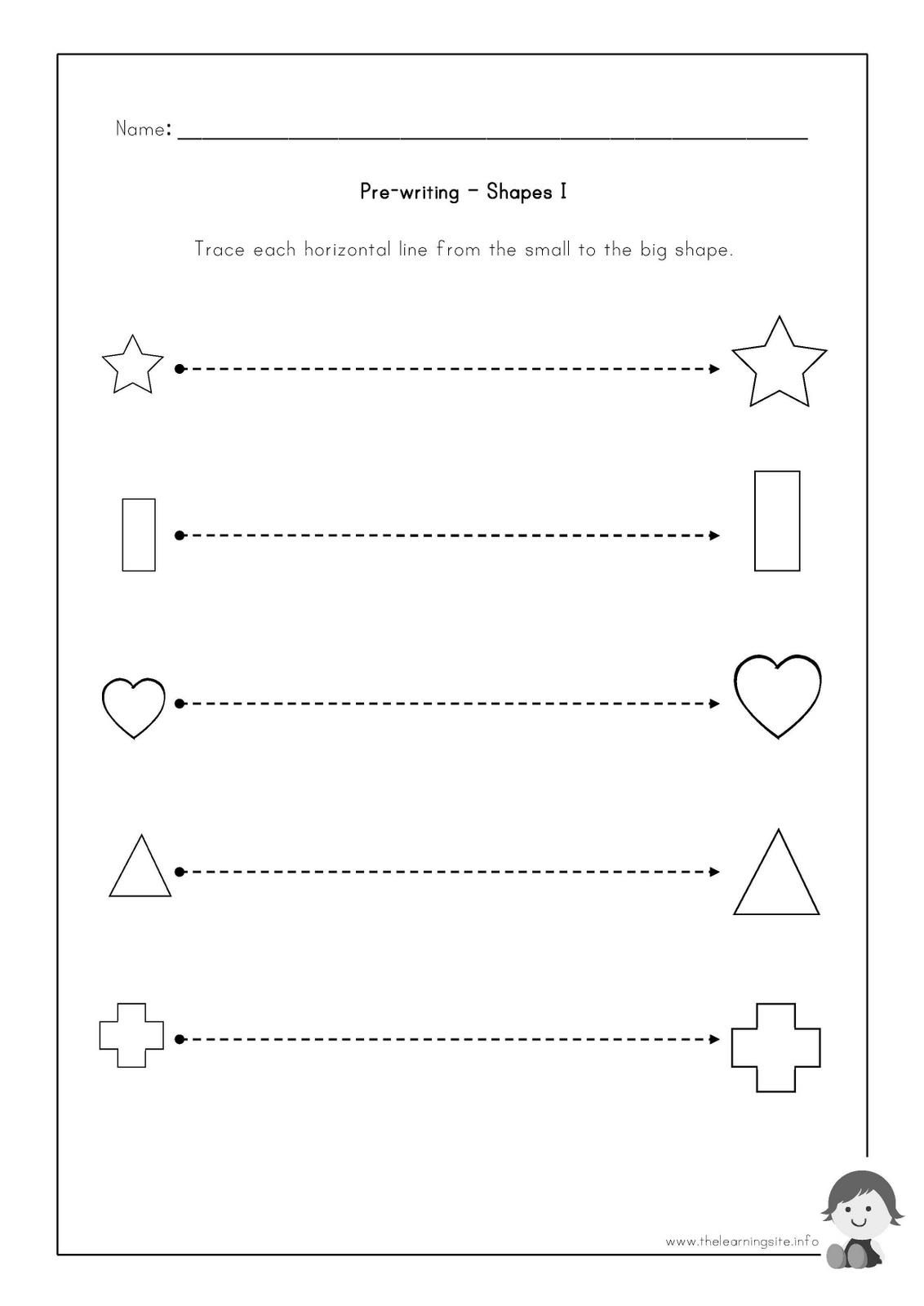 The Learning Site: Pre-writing Worksheets - Shapes | Preschool ...