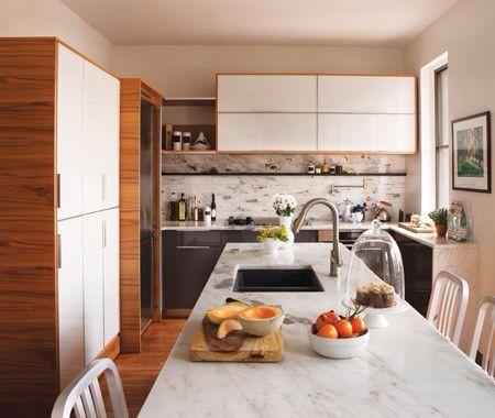 Cuisine marbre, blanc et bois ! | decour | Pinterest | Belle cuisine ...