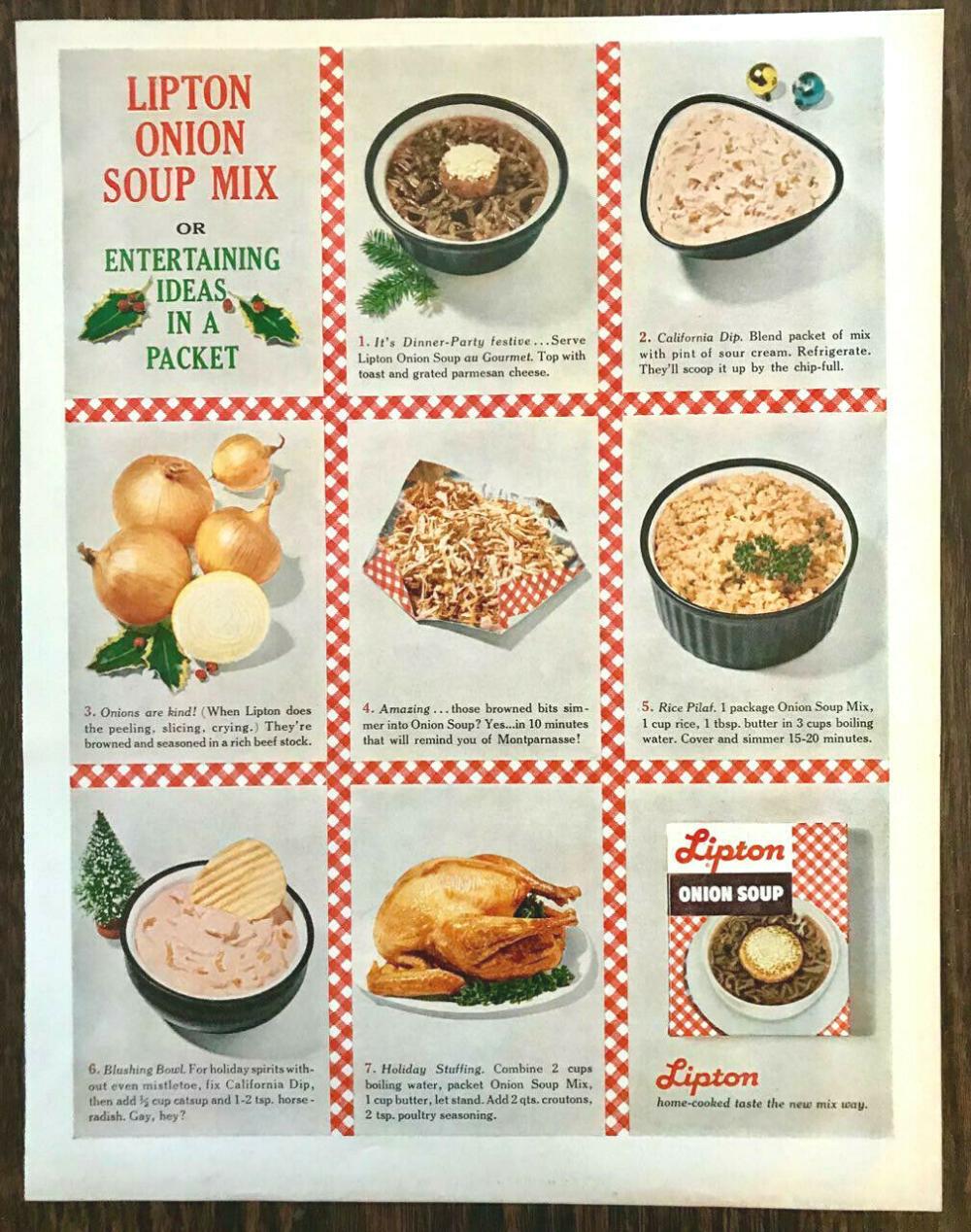1960 Lipton Onion Soup Mix Print Ad Christmas Entertaining ...
