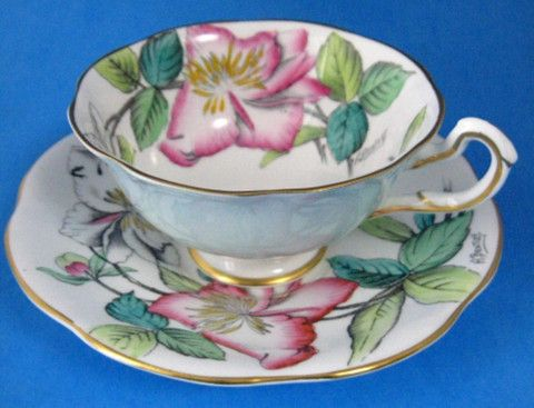 Rosina Artist Signed Lilies Cup And Saucer Hand Colored 1930s