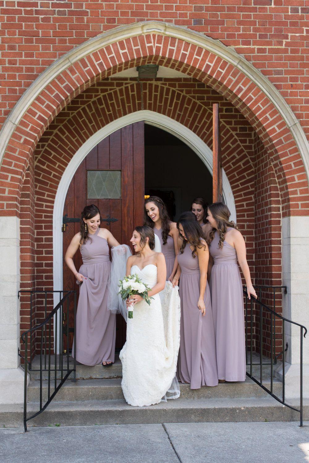 Bridesmaids at the church taupe bridesmaid dresses pastel pink bridesmaids at the church taupe bridesmaid dresses pastel pink purple and navy ombrellifo Gallery