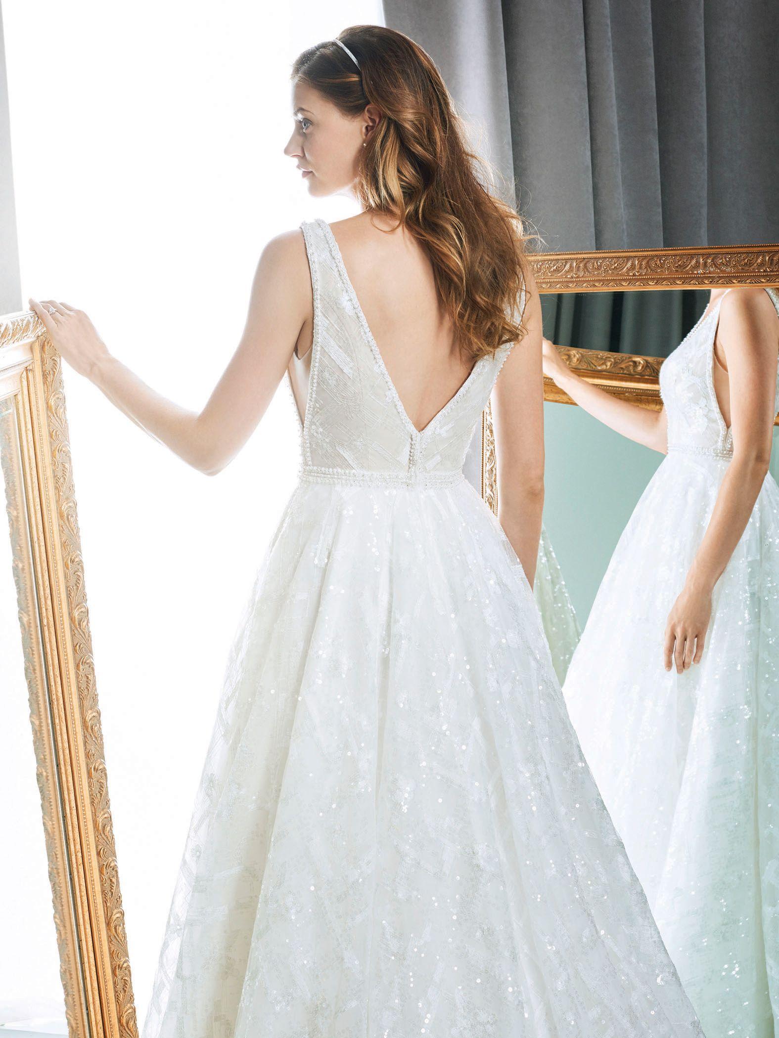Kenneth winston style sequin wedding dress with illusion