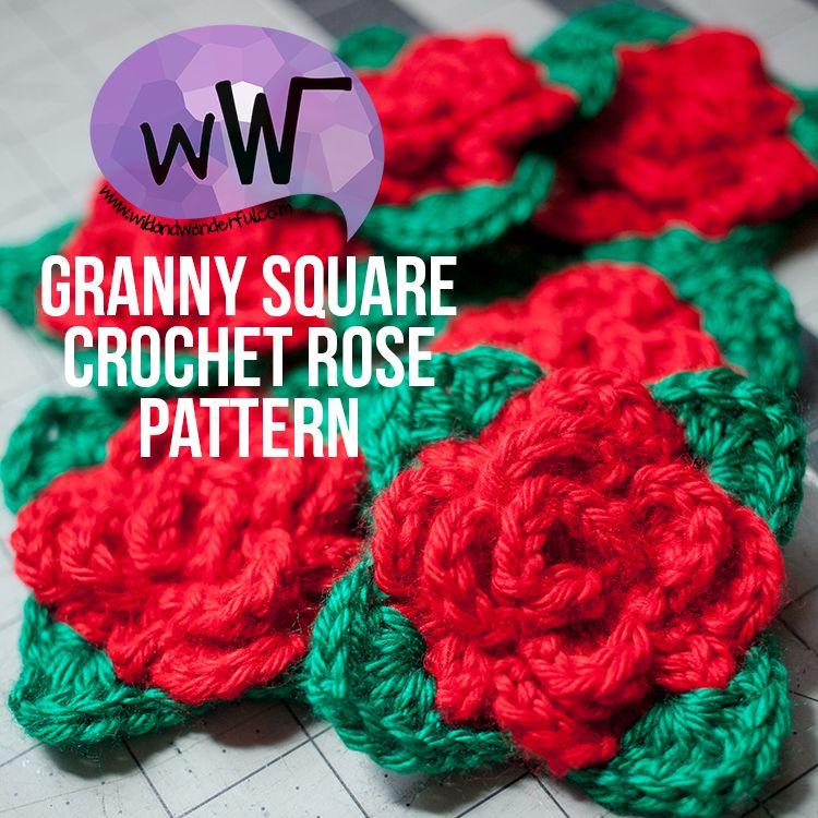 Granny Square Rose :: Free Crochet Pattern | Häkeln, gehäkelte ...