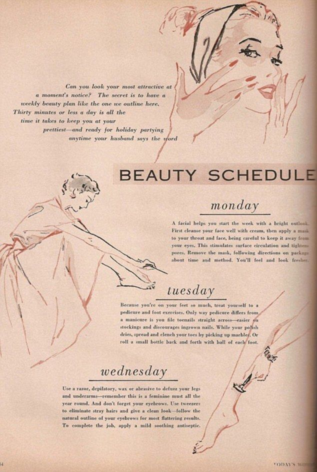 Retro regimen Beauty editor Mariechen Wilder Smith created this Beauty Schedule for Busy  Beauty diystips and tricks