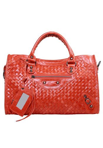 Image of Baginc The Route 66 Woven Leather Bag Orange