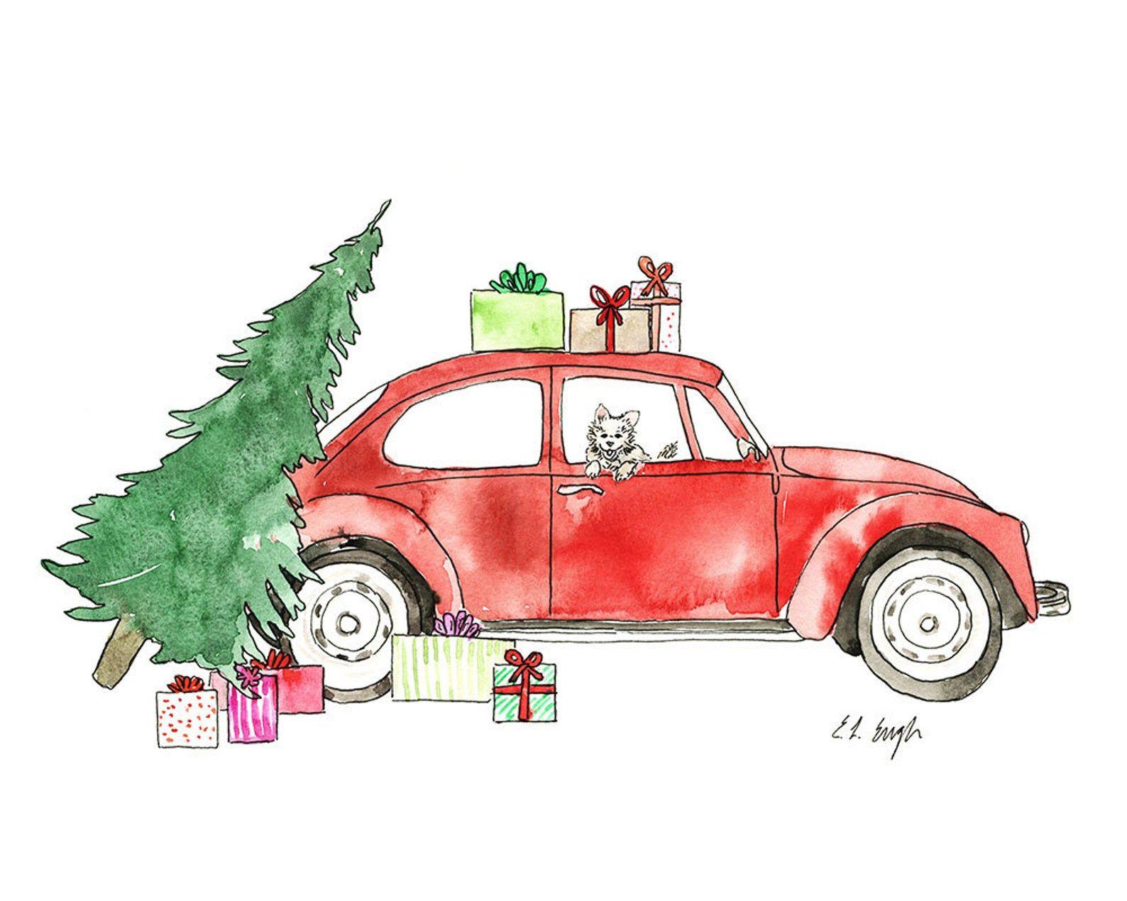 Watercolor Car Christmas Art Original Watercolor Painting Etsy