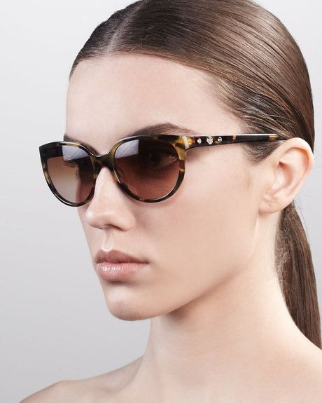 3165352e73e7 sunglasses for oblong face | Tory Burch Thin Oval Sunglasses in Animal  (vintage tortoise) - Lyst