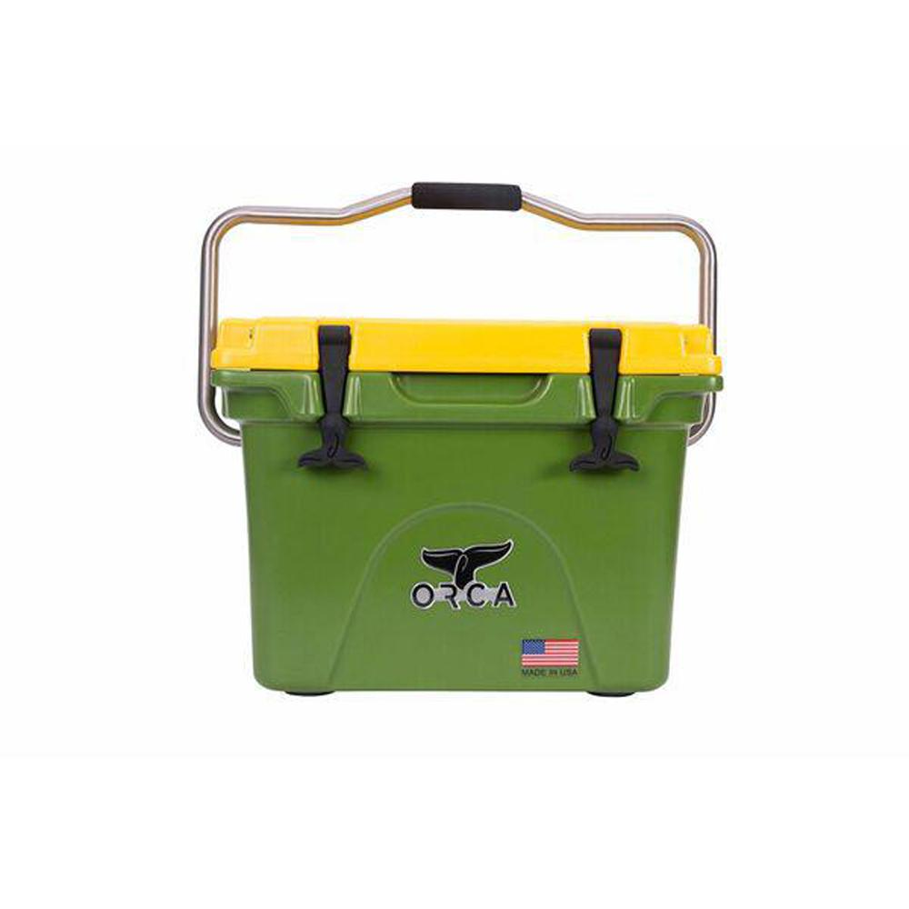 Orca Orca Green Yellow 20 Qt Cooler Orcgr Ye020 The Home Depot Cooler Insulation Materials Steel Handle