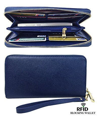 8626021c6353 Womens RFID Blocking Wallet Classic Clutch Leather Long Wallet Card ...