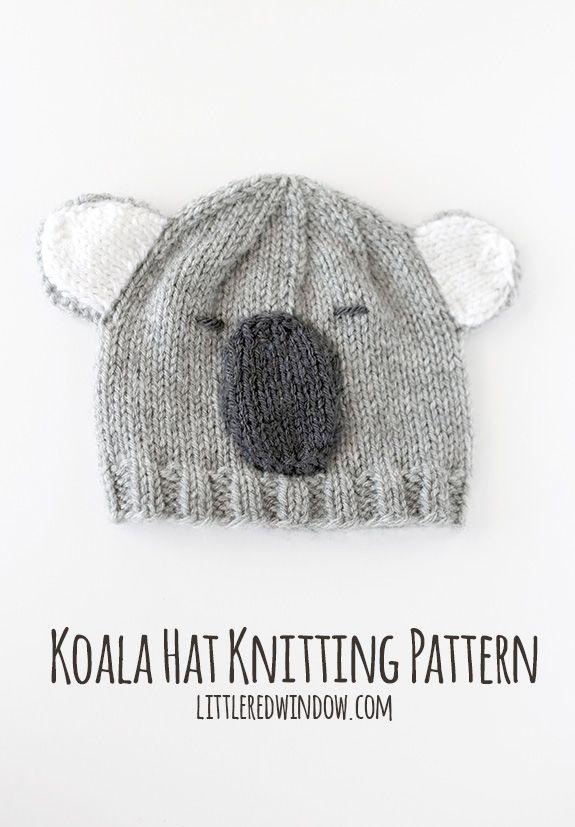 Cuddly Koala Hat Knitting Pattern | Gorros, Tejido y Beanie babies