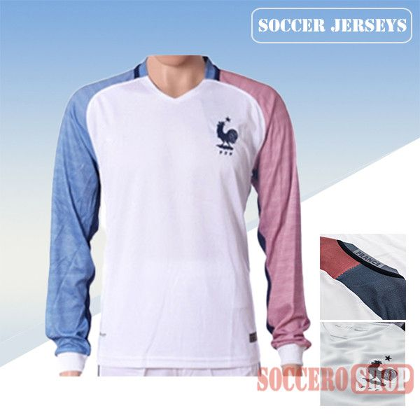 newest collection 66691 13e6d Latest Best France White 2016 2017 Away Long Sleeve Soccer ...