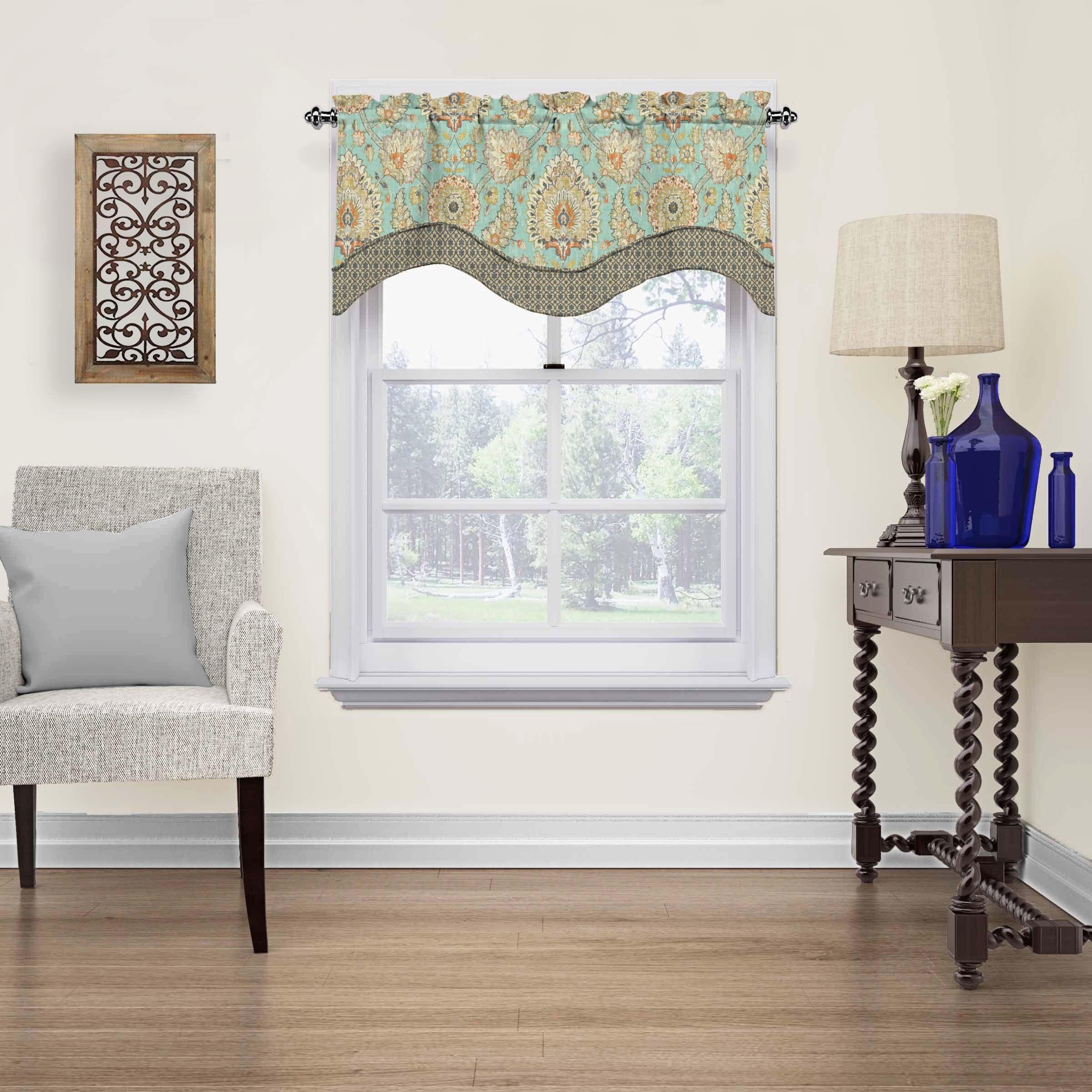 Waverly Clifton Hall Scalloped Window Valance (52x18 - Opal), Multi ...