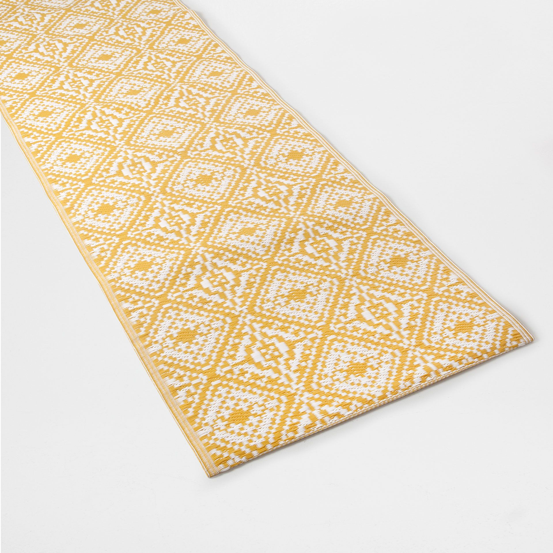 Ochre Patterned Plastic Rug Indoor And