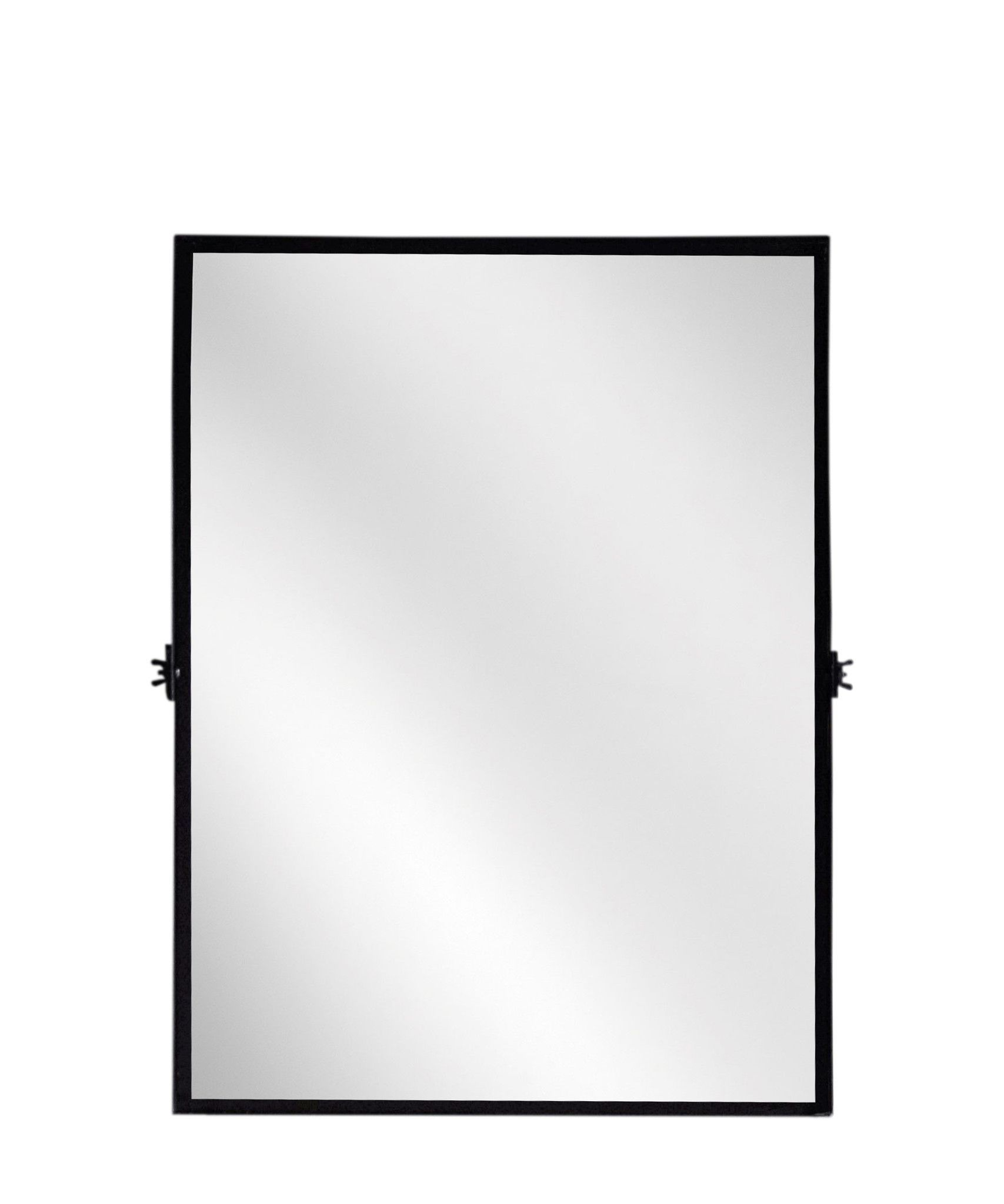 f9b7df9d9ed Rectangular Pivot Mirror - modern black iron frame with a matte black  finish - perfect for tilting in a bathroom or entryway - measures 18