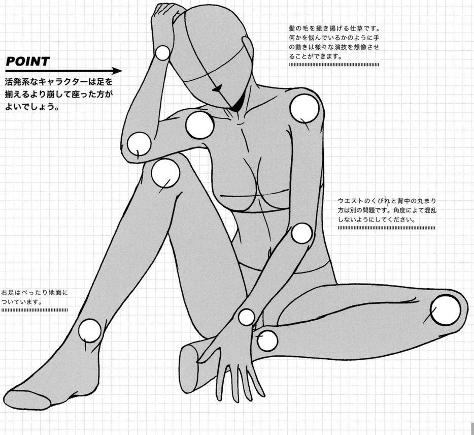 AnatoRef — Manga Female Seated Pose Reference. (With