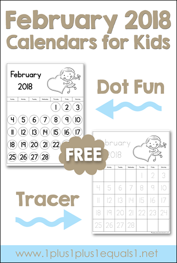 February 2018 Calendar Kindergarten : February printable calendars for kids homeschool