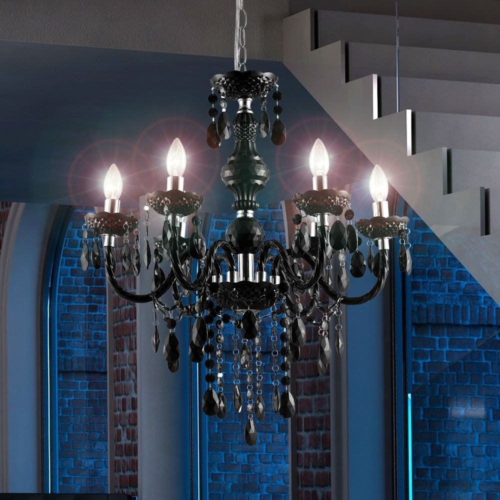 Kronleuchter Decken Pendel Lampe Luster Beleuchtung Gästezimmer Acryl  Schwarz