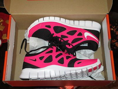 save off d2a2a 253a9 NIKE WOMENS FREE RUN +2 RUNNING SHOES BLACK WHITE CHERRY SIZE 6.5 9 10