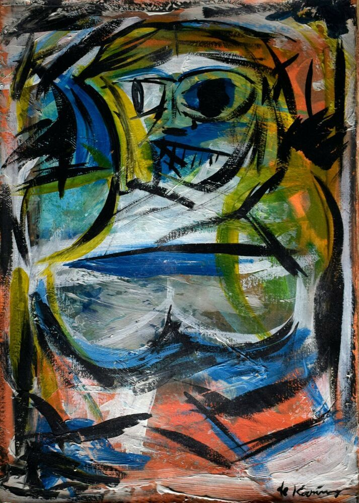 Vintage Abstract Canvas Signed De Kooning, Modern Old 20th