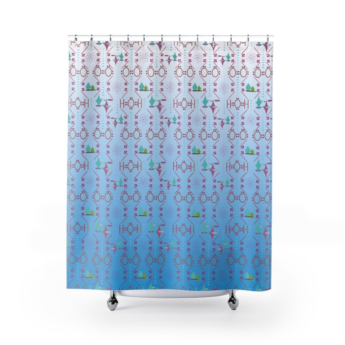 Air Water Chemistry On Fade Blue Background Shower Curtain