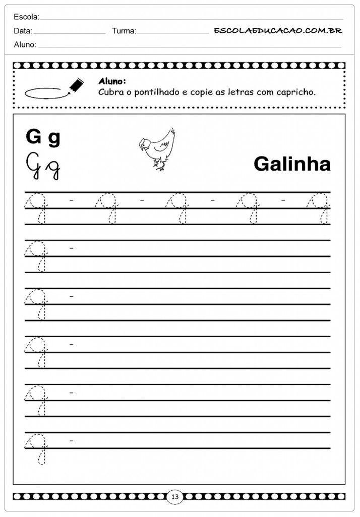Alfabeto Cursivo Com Imagens Atividades Com A Letra P