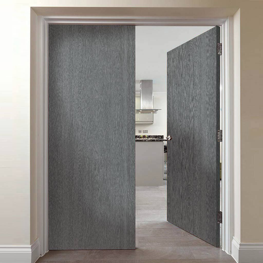 Pintado Slate Grey Flush Door Pair 1 2 Hour Fire Rated Pre Finished Lifestyle Image Contemporarydoors M Flush Doors Door Fittings Contemporary Doors