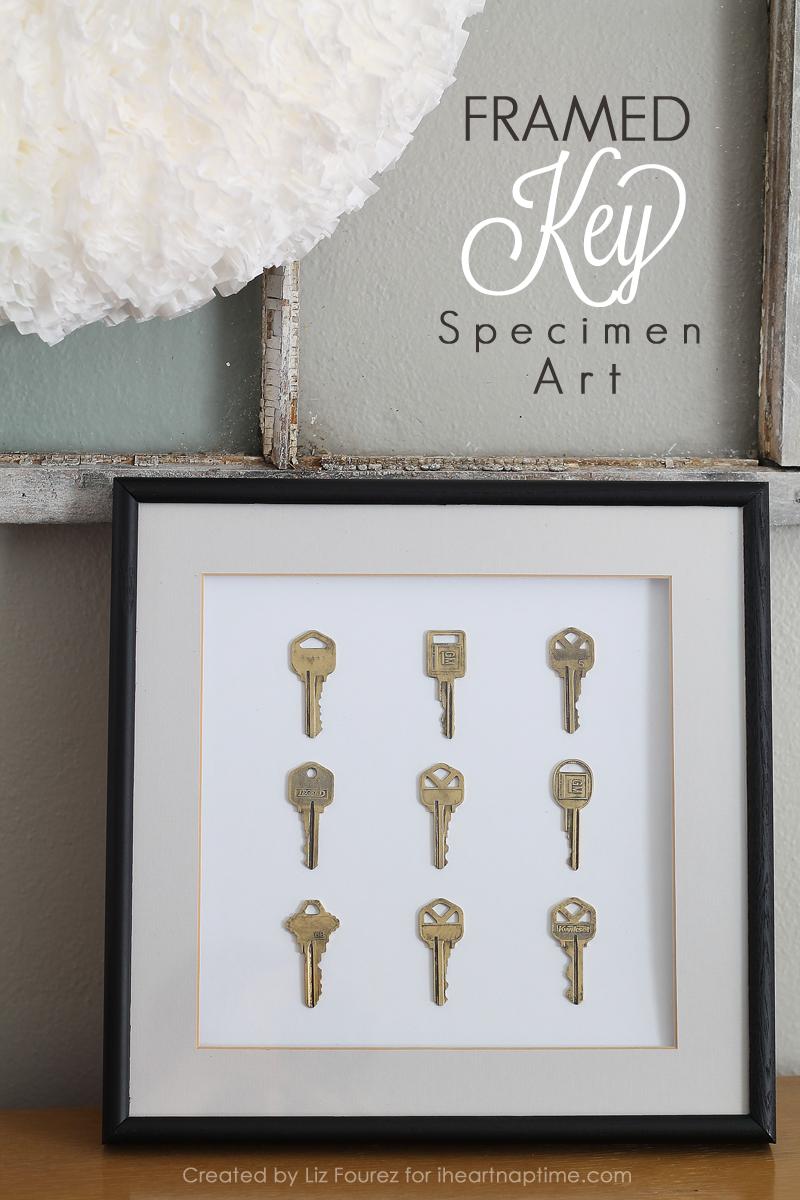 Framed Key Specimen Art | Schlüssel, Rahmen und Deko basteln