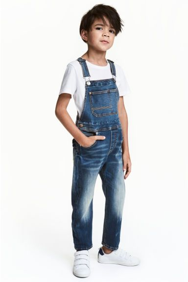 Boys Cute Blue Denim Distressed Front Bibs Jeans Overall Shotall Jumpsuit with Adjustable Strap