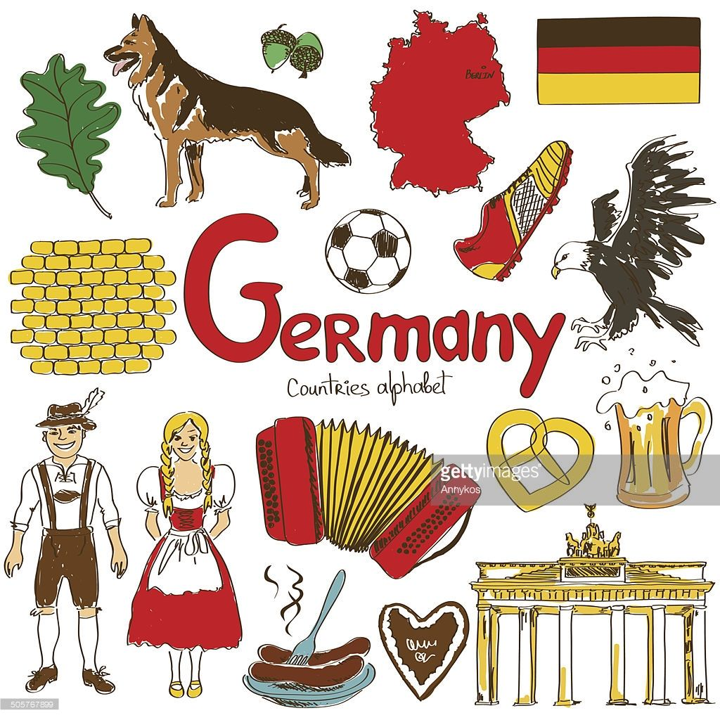 Fun Colorful Sketch Collection Of Germany Icons Countries