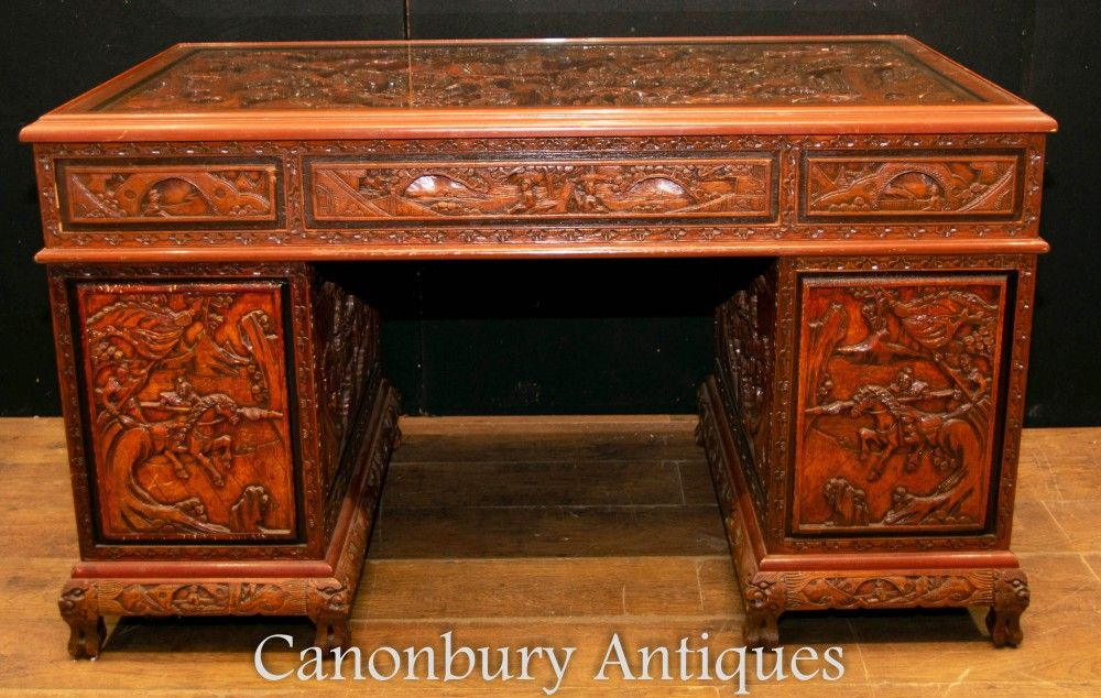 Antique Chinese Desk Carved Pedestal Desk Circa 1890 Pedestal