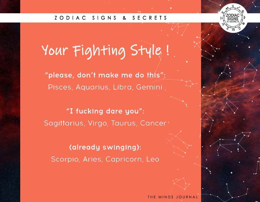 Signs' Fighting Style | Astrology - Zodiac Signs and Secrets