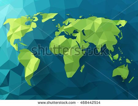 Vector polygonal world map low poly design origami planet vector polygonal world map low poly design origami planet illustration conceptual world map synthesis freerunsca Choice Image