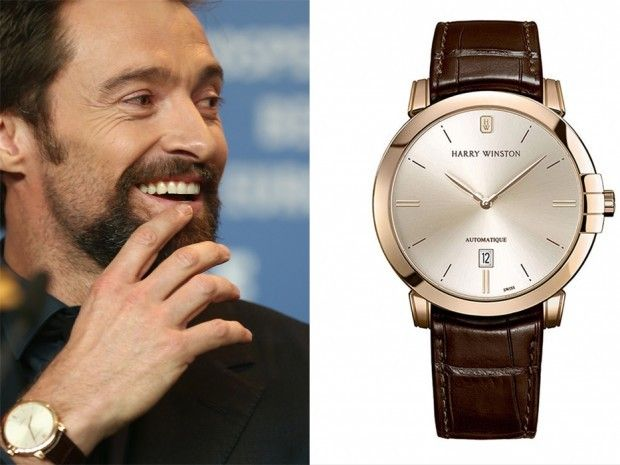 Hollywood actor hugh jackman sporting his harry winston midnight automatic celebrity watch for Celebrity watches male