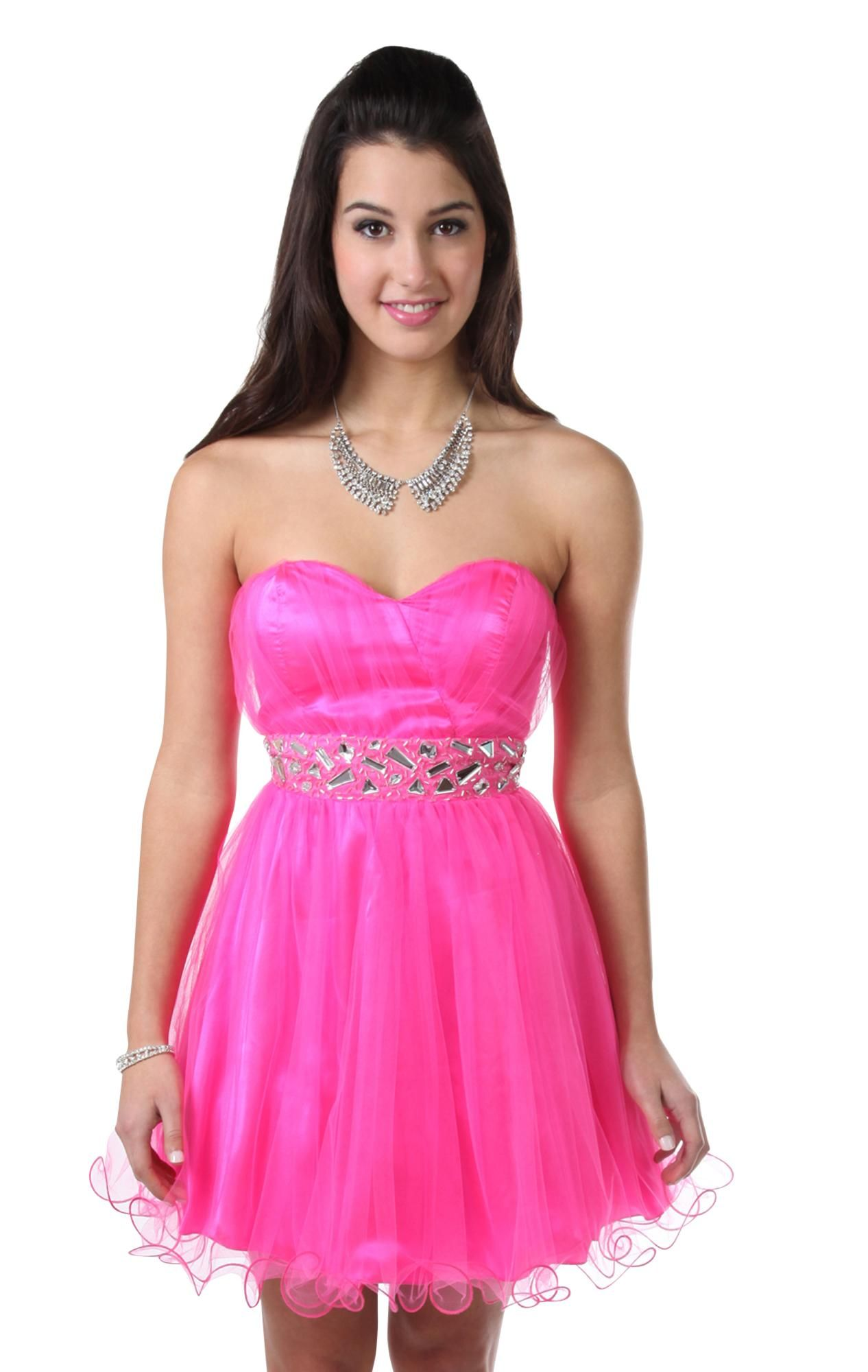 Deb shops neon pink strapless chunky stone short prom dress with