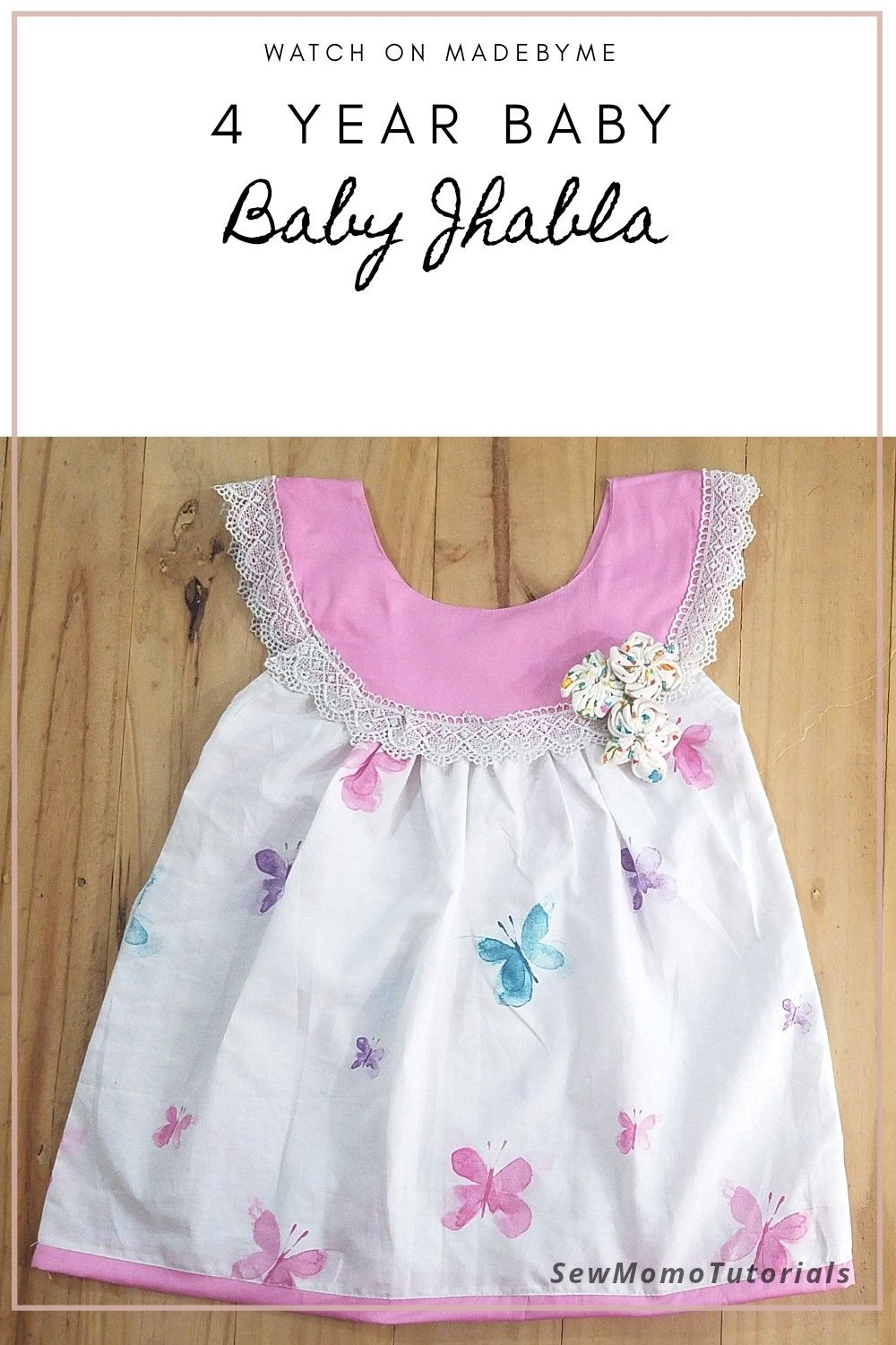 Baby jhabla frock tutorial available on MadebyMe youtube channel #SewMomoBabyFrock #babyfrock #cottonDress